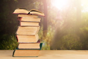 Stack of books under the sun